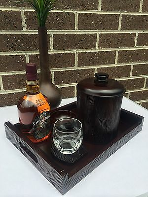 Wooden Ice Bucket with Serving Tray, Coaster, Bowl Great Home Bar Accessories