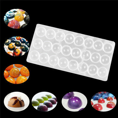 Clear Hard Chocolate Maker Polycarbonate PC DIY 24 Half Ball Candy Mold Mould US