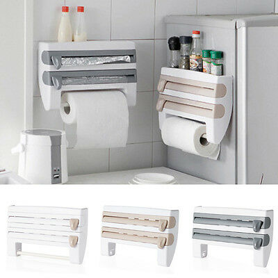 4-in-1 Kitchen Roll Holder Cling Wrap Kitchen Towel Foil Dispenser Wall Mounted