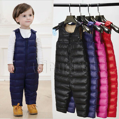 New Kids Girls Boy Duck Down Pants Winter Trousers Overalls Padded Warm jumpsuit