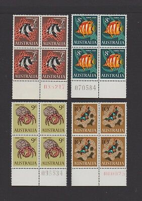 1966 Fish set of 4 in Marginal Blocks of 4, with Printing Numbers, Stamps MUH.