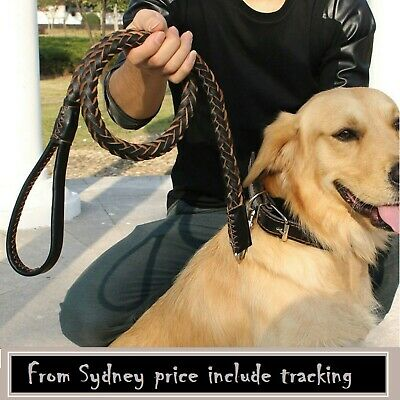 Leather Lead Leash Collar Pet  Strong Safety Solid1.2m Large Dog Black & Brown