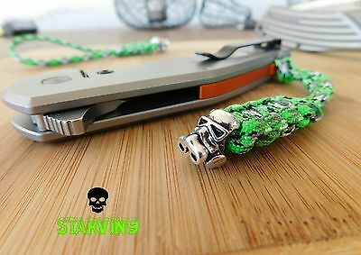 Paracord knife lanyard-Toxic green/Gas mask skull-fits spyderco& zero tolerance