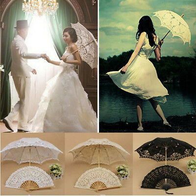 Retro Style Lace Handmade Hand Fan Parasol Umbrella Wedding Bridal Party 3 Color