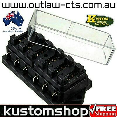 6 Way Fuse Box Holder. With Clear Dust/moisture Cover, Car, Truck, Bike Boat Etc
