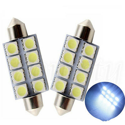 10X 39MM 5050 8SMD Festoon Wedge Dome Auto Car Interior LED Light Bulb White