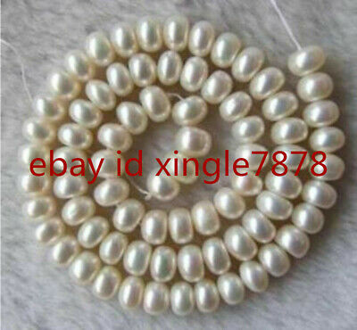 """7-8mm  White Freshwater Pearl Roundel Loose Beads 15"""" Strands AAA"""