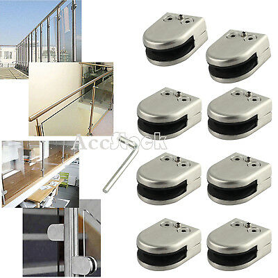 8PCS 304 Glass Clamp Bracket Clip Stainless Steel for Staircase Handrail 8-10MM