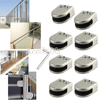 8PCS 304 Glass Stainless Steel Clamp Bracket Clip for Handrail Staircase 8-10MM