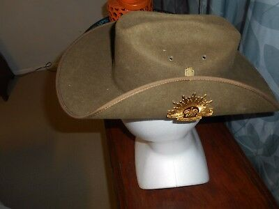 Australian Army Mountcastle slouch hat with metal rising sun badge