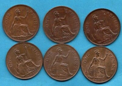 1944 - 1949 KING GEORGE VI PENNY COINS. 6 X 1d COLLECTION IN LOVELY CONDITION.