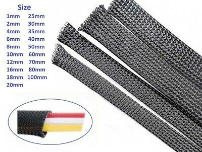 1mm-100mm Expandable Black Braided Cable Sleeving/Auto Wire Harnessing/Sheathing