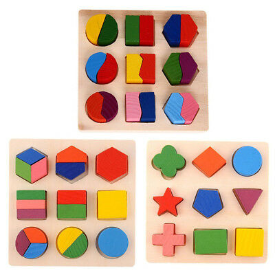 New Kids Baby Wooden Geometry Educational Toys Puzzle Montessori Early Learning