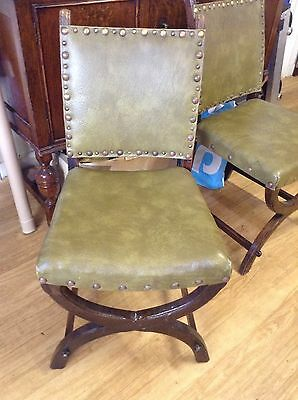 Vintage Green Leather Chair With Cross Over Front Legs (Two Available)