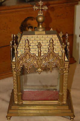 A very rare and unusual antique Victorian gothic brass reliquary display case