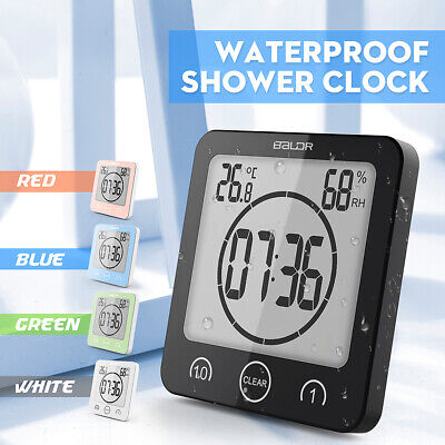 Waterproof Shower Bathroom Wall Suction Clock Timer Temperature Humidity Meter