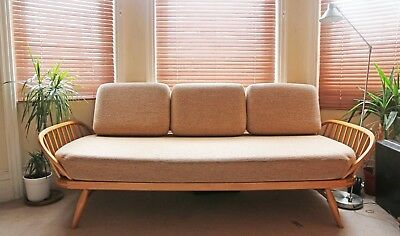 Vintage Retro Ercol Elm Day Bed Studio Sofa With Cushions Mid Century