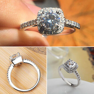 Lady Crystal Jewelry White 925 Sterling Silver Filled Wedding Engagement Ring