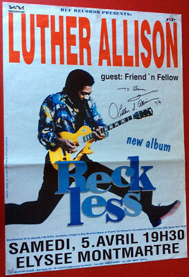 Autographe Luther Allison († 2017) Rare Affiche Dedicacee Signiert Signed Poster
