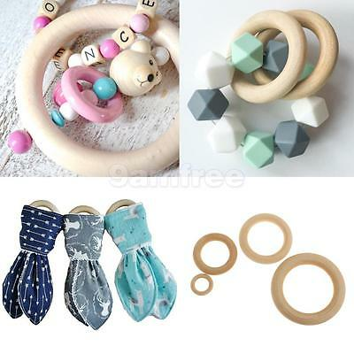 5x Natural Wooden Baby Teether Ring Unfinished Wood Jewellery Craft Baby Shower