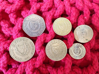 Old pre euro Cyprus Cypriot assorted coins, collectable