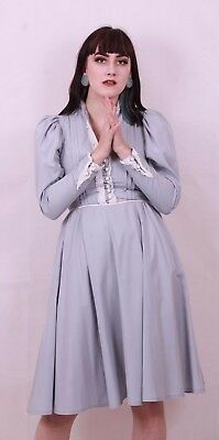 Vintage 70's Grey Victorian Style Steampunk Dress Size 8 To 10 Rare Has Pockets