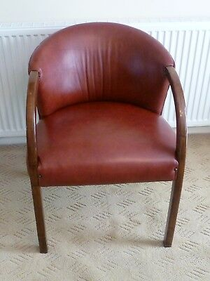 Vintage sturdy red leather? & wood tub chair - Study / desk / library / Office