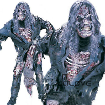 Halloween Adult Complete Zombie Fancy Dress Horror Mask Costume Mens Outfit UK