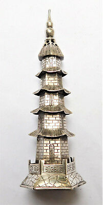 NO RESERVE Sing Fat Chinese Silver Pagoda Pepperette Vintage Antique