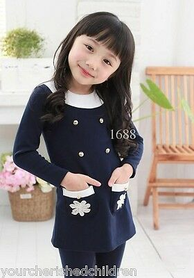 New Wholesale Joblot 2 X Girls Kids Jumper L/sleeve Dresses Blue Pink 7-8 Years