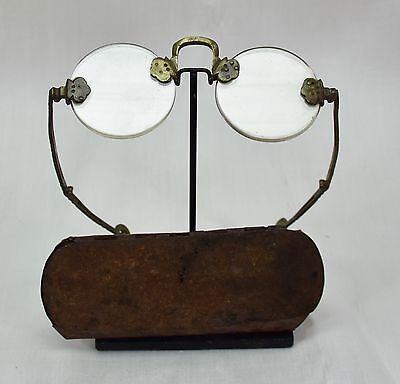 Rare Antique Chinese Brass Spectacles Folding Eyeglasses with Original case