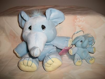 Enesco Precious Moments Plush Tender Tails Blue Elephant And Baby