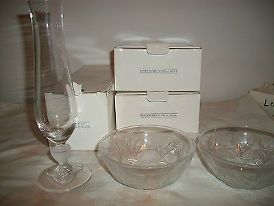 Avon Gift Collection Roses Roses Crystal Bud Vase And 2 Crystal Bowls