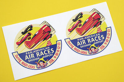 PAN AMERICAN AIR RACES SHUSHAN  Retro Vintage style stickers decals 1 pair