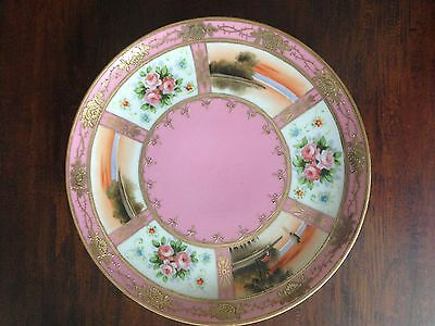Vintage Nippon Japanese Hand Painted Gold Moriage Porcelain Plate 10'' Nature Sc