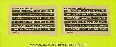 oo new spares - 12x smiths adhesive coach labels - the south wales pullman