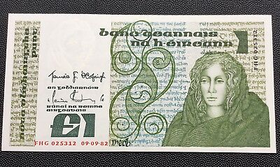 Uncirculated 1982 Central bank of Ireland £1 note