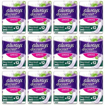 Always Discreet Sensitive Bladder Incontinence Pads Normal Odour Lock - 144 Pack
