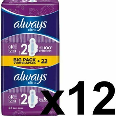 Always Ultra Long Sanitary Towels Pads Size 2 Wings Womens Absorbent - 264 Pack
