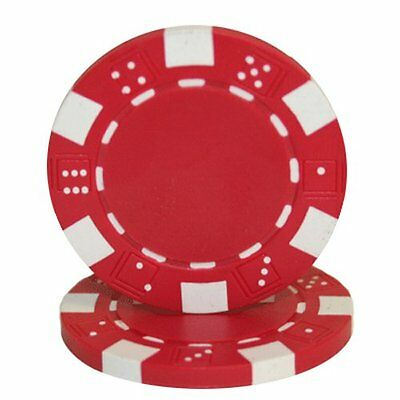 50 Clay Composite Dice Striped 11.5-Gram Poker Chips (RED)