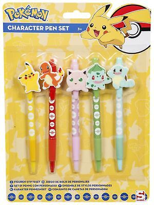 POKEMON   Character Ball Pen Set   5 x Pens with Toppers