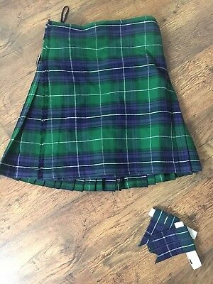 """Kilt and matching flashes, Green, blue and purple in colour. Size 34"""""""