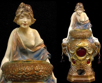 Antique Art Deco Chalkware Nude Lady & Elephant Incense Burner Lamp Vantines Era