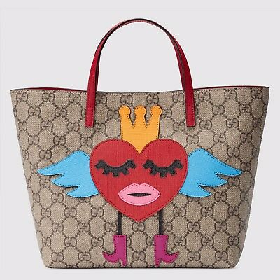 NWT Gucci Girls Flying Winged Heart Crown GG Supreme Tote Bag New  ($650)