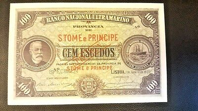 S.Tomé e Príncipe 100 Escudos 1921,Spécimen, Excessive Rare in the world Genuine