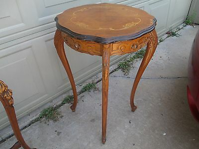 Outstanding 1920s-30s Pierce Carved French Marquetry Inlaid Side End Table