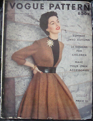 VINTAGE VOGUE PATTERN BOOK MAGAZINE AUG SEPT 1952 1950s 65TH BIRTHDAY MODELS