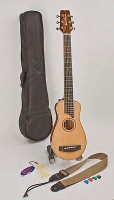 Travel Guitar Acoustic Steel String Set-Up In My Shop Perfect Play Strap & Cases