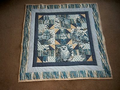 """SNOW ANIMALS  WOLF LYNX OWL WALL HANGING / LAP QUILT home made USA 43.5"""" square"""