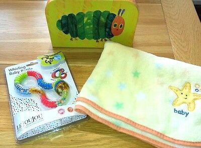 The Very Hungry Caterpillar Unisex Baby Gift Large Fleece Blanket, Baby Rattle